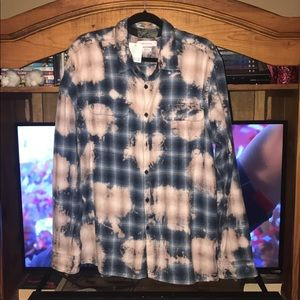 NWT Urban Outfitters Bleach Distressed Flannel XL